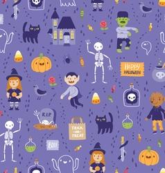 Purple halloween seamless super pattern vector image