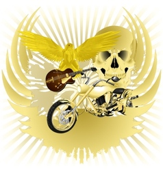 Rock n roll background and golden chopper vector image vector image