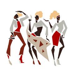 silhouette fashion girl set vector image vector image