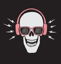 skull listen a music in headphones vector image