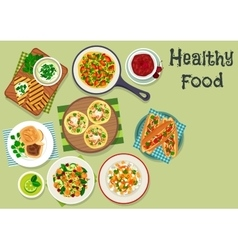 Breakfast dishes icon for healty menu design vector