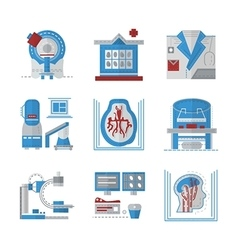 MRI flat color icons vector image vector image