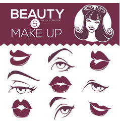 retro beauty collection pinup girl lips eyes vector image vector image