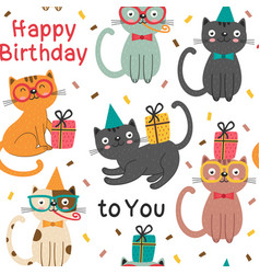 seamless pattern with happy birthday cats vector image vector image