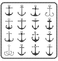 Set of sixteen hand drawn anchors vector image
