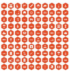 100 burden icons hexagon orange vector