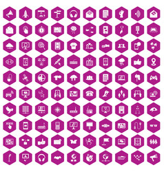 100 communication icons hexagon violet vector image