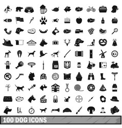 100 dog icons set simple style vector