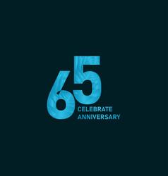 65 year anniversary aqua color template design vector