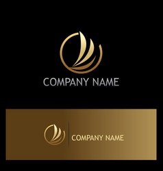 Abstract wing fly gold company logo vector