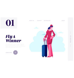 air hostess website landing page stewardess vector image