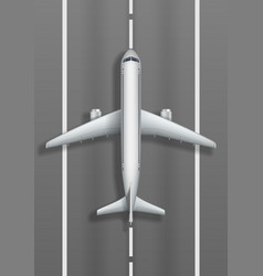 Airstrip with white airplane plane mockup top vector