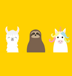 Alpaca llama sloth unicorn set cute cartoon funny vector