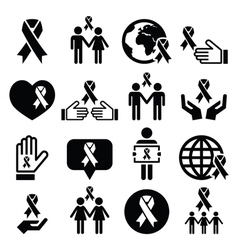Awareness ribbons with people - black icons vector image