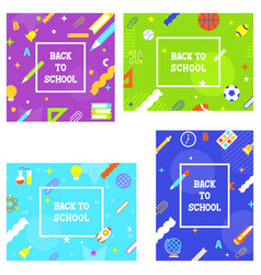 back to school school supplies poster template vector image