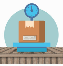 Balance with box carton packing postal service vector