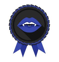 best vampire award badge blue woman lips vector image