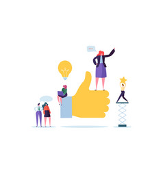 Big hand with thumb up and working flat people vector
