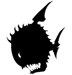 black graphic silhouette round fish with spikes vector image