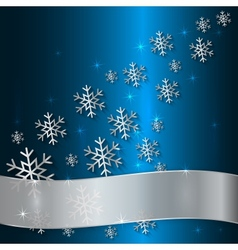 Blue Plate with Snowflakes and White Ribbon vector image