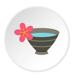 bowl with water for spa icon circle vector image