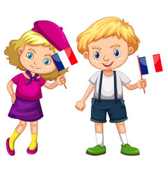 boy and girl holding flag of france vector image