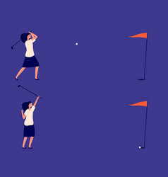 business goal woman play in golf successful vector image