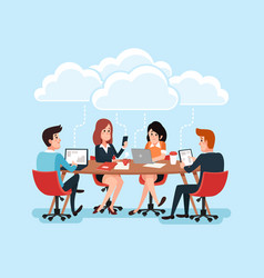 Business team using laptops business people vector