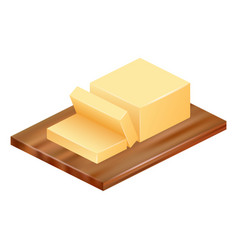 Butter on wood icon realistic style vector