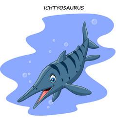 Cartoon smiling ichthyosaurus vector