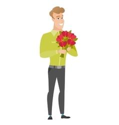 Caucasian businessman holding a bouquet of flowers vector