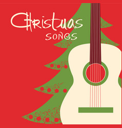 Christmas guitar red background greeting card vector