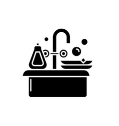 cleaning dishes black icon sign on vector image