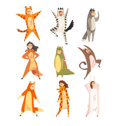 Collection funny people in animal costumes men vector