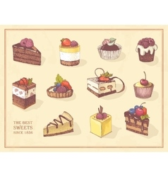 colored sketches cupcakes berry pie and vector image