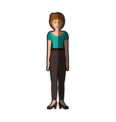 colorful silhouette of woman with blue blouse and vector image