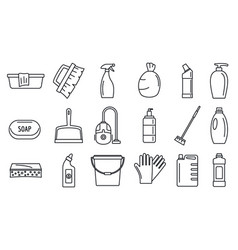 Commercial cleaner equipment icons set outline vector