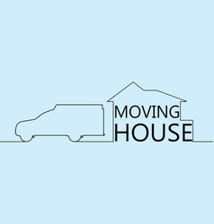 Continuous line drawing moving house with car vector
