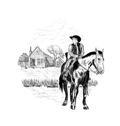 cowboy front house vector image