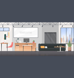 Coworking room interior flat design vector