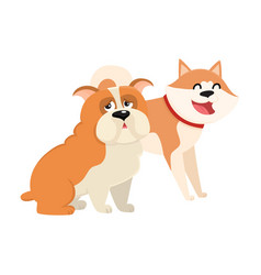 cute funny dog characters - japanese akita inu vector image