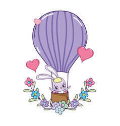 cute rabbit flying in balloon air hot valentines vector image