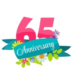 Cute Template 65 Years Anniversary Sign vector image