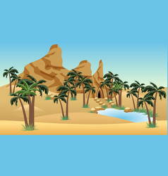 Desert landscape scene with oasis for cartoon or vector