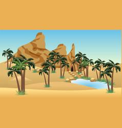 Desert landscape scene with oasis for cartoon vector