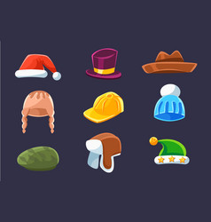Different types hats and caps warm and classy vector