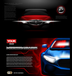 digital red modern sport car mockup vector image