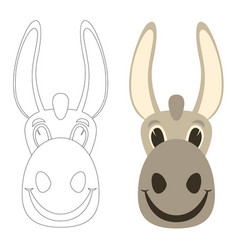 donkey cartoon faceflat stylefront view vector image