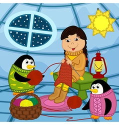 Eskimo girl knits sweater for penguin vector