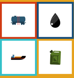 Flat icon fuel set of fuel canister boat vector